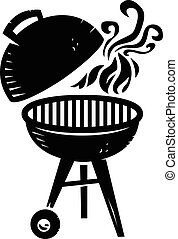 BBQ Grill Cooking with Smoke and Flame vector icon