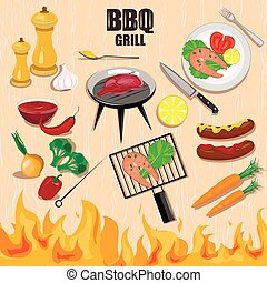 Bbq grill decorative icons set.