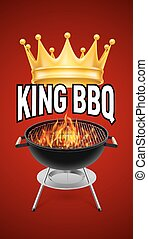 BBQ grill - King BBQ  banner grill with fire isolated on red