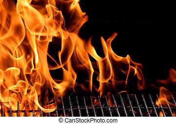 bbq, grill, flamme, heiß, brennender, grill, draußen