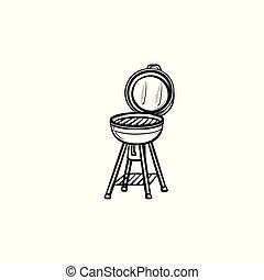 BBQ grill hand drawn sketch icon.