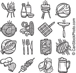 Bbq Grill Icons Set - Bbq grill sketch decorative icons set...