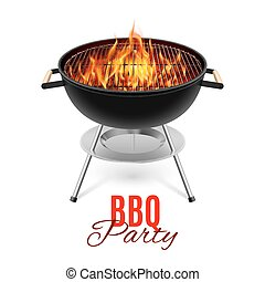 BBQ grill - BBQ party banner grill with fire isolated on...