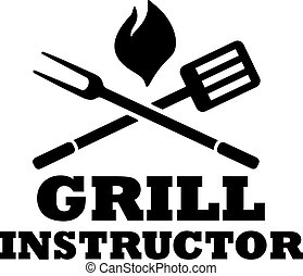 BBQ grill instructor with fork and spatula