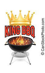 BBQ grill - King BBQ banner grill with fire isolated on...