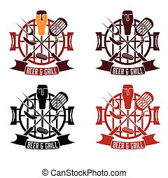 BBQ Grill labels set design with ribbon banner