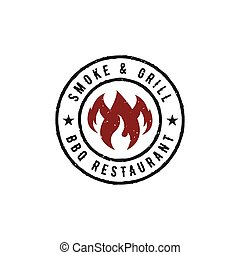 BBQ Grill logo design vector template. Barbeque label stamp.