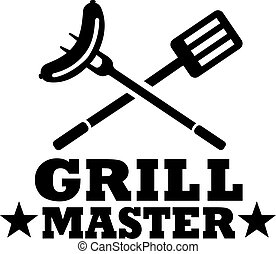 BBQ grill master with cutlery and sausage