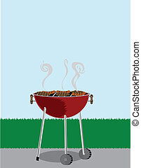 Topless grilling outdoors smoking meats cook near grassy lawn
