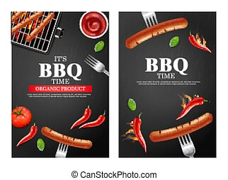 Bbq grill party banners set Vector realistic. Vertical menu brochure template hot sausage. Hot sauce chily and tomato. 3d illustration food isolated