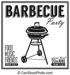 Bbq, grill party design poster, banner
