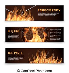 Bbq grill party horizontal vector banners set with realistic hot fire