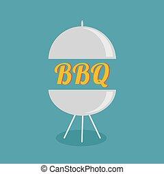 BBQ grill party invitation card. Flat design icon.