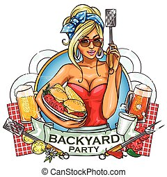 BBQ Grill Party label design