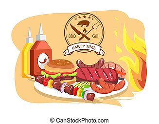BBQ Grill, Party Time, Color Vector Illustration