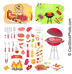 BBQ Grill Party Time Icons Set Vector Illustration