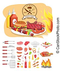 BBQ Grill Party Time Poster Vector Illustration