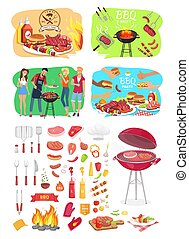 BBQ Grill Party Time Posters Vector Illustration