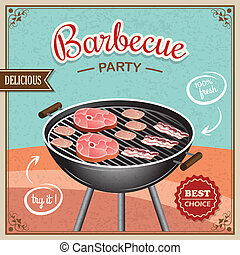 Bbq grill poster - Bbq grill party best choice flyer promo...