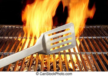 BBQ Grill, Spatula and Flames, XXXL - BBQ Gril, Spatula and...