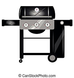 Bbq grill. Vector cartoon illustration isolated on white background.