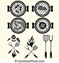 BBQ grill vector labels collection