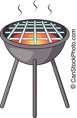 BBQ grill with fire icon, cartoon style
