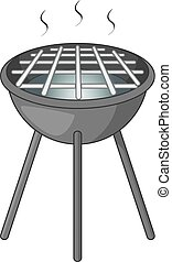 BBQ grill with fire icon monochrome