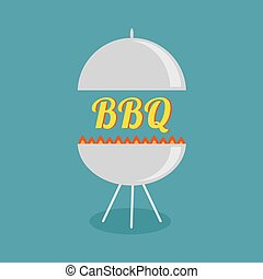 BBQ grill with fire party invitation card. Flat design icon.