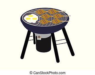 BBQ grill with fish