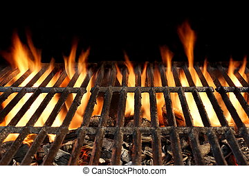 BBQ Grill With Flaming Charcoal Isolated On Black Background...