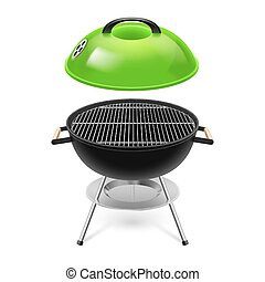 BBQ grill with opened green cap isolated on white