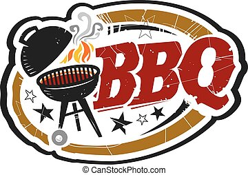 BBQ Grill with Smoke and Stars Text