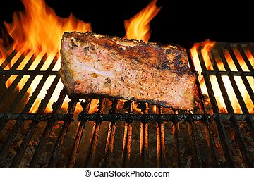 BBQ Grilled Pork Ribs On Flaming Grill