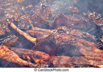 BBQ Grilled pork ribs on the grill