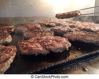 bbq, hambúrgueres, fumaça
