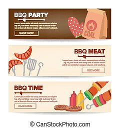 BBQ Horizontal Promo Banners Vector. Barbecue Web Background. Grilled Meat Assortment. Grilled Steak, Sausages, Vegetables. Isolated Illustration