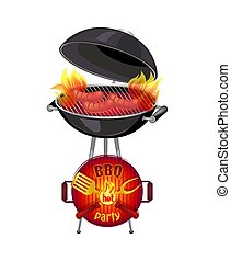 BBQ Hot Party Barbecue Set Vector Illustration