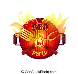 BBQ Hot Party Barbeque Icon Vector Illustration