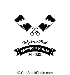 BBQ House vintage Label. Typography letterpress design. With sunbursts, isolated