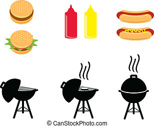 Barbeque icons that include hamburgers, hotdogs, ketchup & mustard bottles and bbq grill (opened, cooking open and cooking closed). Vector available!