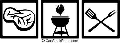 BBQ icons with meat and grill