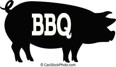 bbq, ilustração, porca