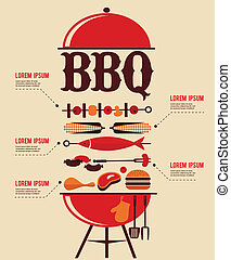 BBQ Infographics with food icons. vector illustration