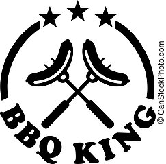 BBQ king stamp with sausage at forks