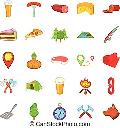 BBQ lunch icons set, cartoon style