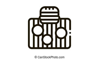 bbq meat for burger Icon Animation. black bbq meat for burger animated icon on white background