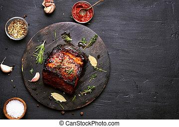 Bbq meat, grilled pork