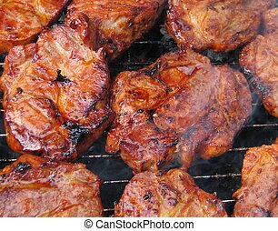 bbq meat - juicy pieces of grilled meat, detailed