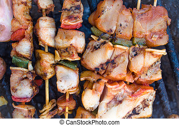 bbq meat on sticks grilled